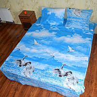 Полуторное постельное бельё бязь голд - Лебеди на голубом