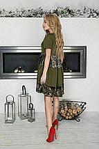 """Комбинированное платье А-силуэта """"Karee"""" с бархатными вставками (4 цвета), фото 3"""