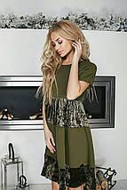 """Комбинированное платье А-силуэта """"Karee"""" с бархатными вставками (4 цвета), фото 2"""