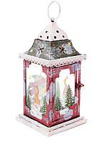 Новогодний металлический фонарь-подсвечник со стеклянными вставками 32см