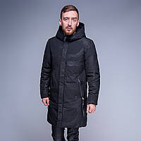 Зимняя удлиненная куртка камуфляжная. Цвет - черный