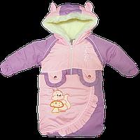 УЦЕНКА -50% Детский зимний термокомбинезон-трансформер р 80-86 конверт с ручками р 68 на овчине новорожденному