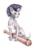 "Открытка ""Котенок с битой"", фото 1"