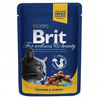 Влажный корм Brit Premium Cat pouch Курица и индейка для взрослых кошек 100г