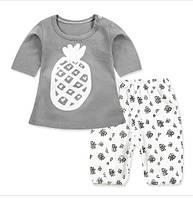 Пижама  (футболка с короткими рукавами и шорты) Linkcard Ананас 90 см Серая с белым (06117)