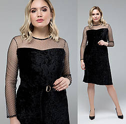 Велюровое платье бархатное женское нарядное больших размеров, черное