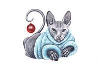 """Листівка """"Різдвяний кошеня"""""""