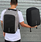 Рюкзак міський протикрадій Боббі Bobby з USB сірий / захист від крадіжок, водовідштовхувальний, репліка, фото 8