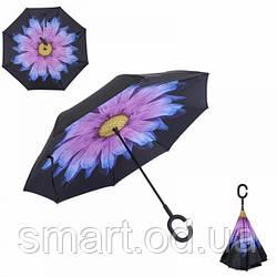 Ветрозащитный зонт наоборот / Антизонт /Up-Brella Оригинал+ПОДАРОК! Фиолетовый цветок