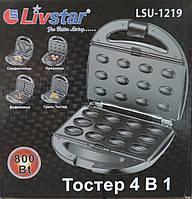 """Гриль контактный, орешница, вафельница, бутербродница (сэндвичница) 4 в 1 """"Livstar"""""""