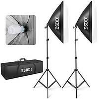 Комплект света ESDDI PS025 (2 x софтбокса,  2 x стойки, 2 лампы - сумка для переноски)