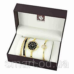 Часы в подарочной упаковке watch set ANNE KLEIN  Gold black / женские часы в стиле ANNE KLEIN