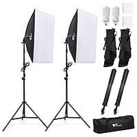 Комплект света AMZDEAL PS-SYP-001 (2 x софтбокса 50 x 70 см,  2 x стойки, 2 лампы - сумка для переноски)
