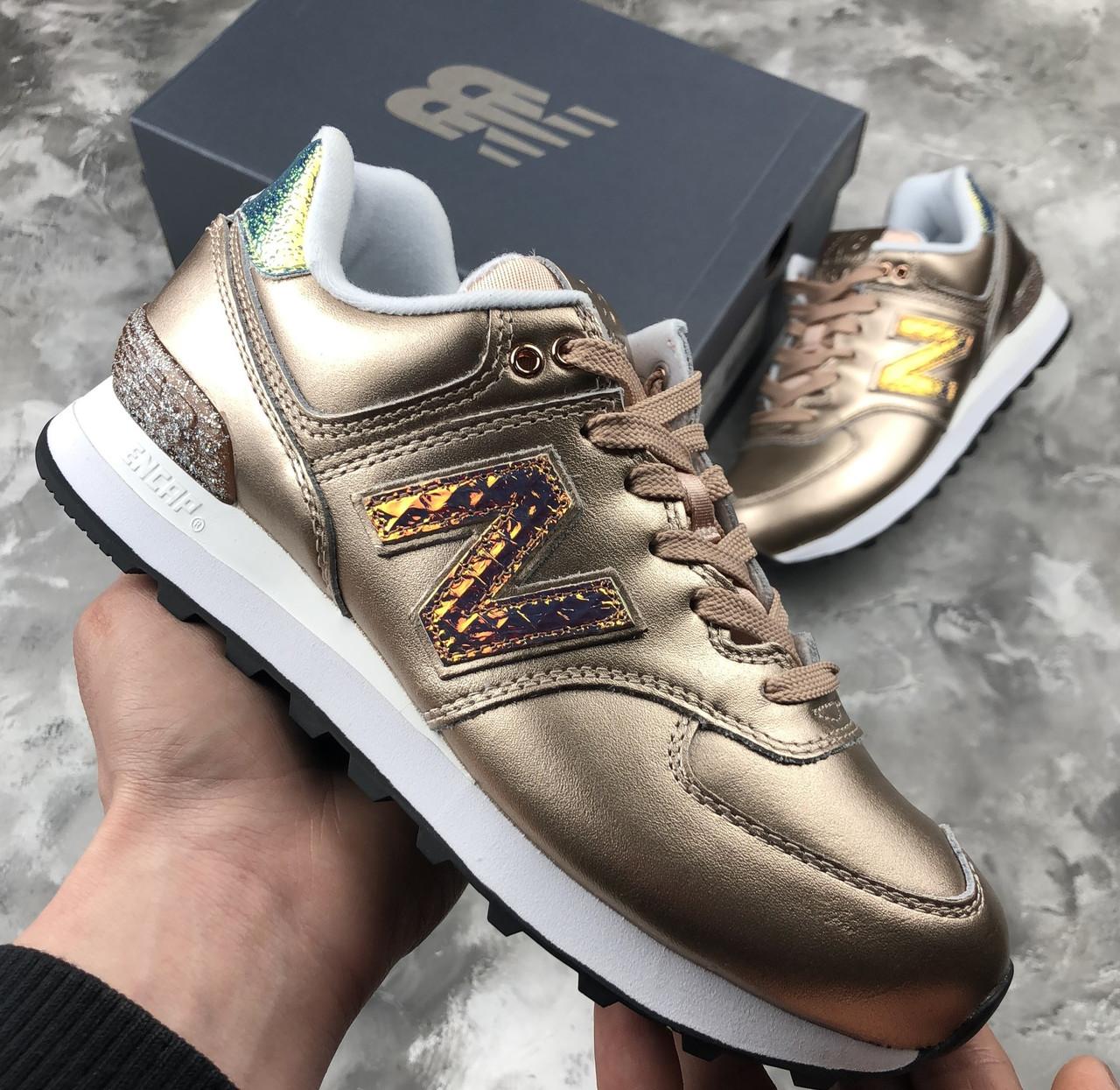 397b5b6c8c7e90 Кроссовки женские стильные золотые New Balance 574 Glitter Punk Оригинал  Нью Баланс - Магазин обуви Go