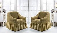 Натяжные чехлы на кресла с оборкой, Турция с оборкой (2 шт)