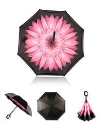 Ветрозащитный зонт наоборот / Антизонт /Up-Brella Оригинал+ПОДАРОК! Розовый цветок