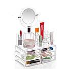 Компактный акриловый органайзер с зеркалом для косметики / подставка для косметики / косметик бокс / Оригинал, фото 6