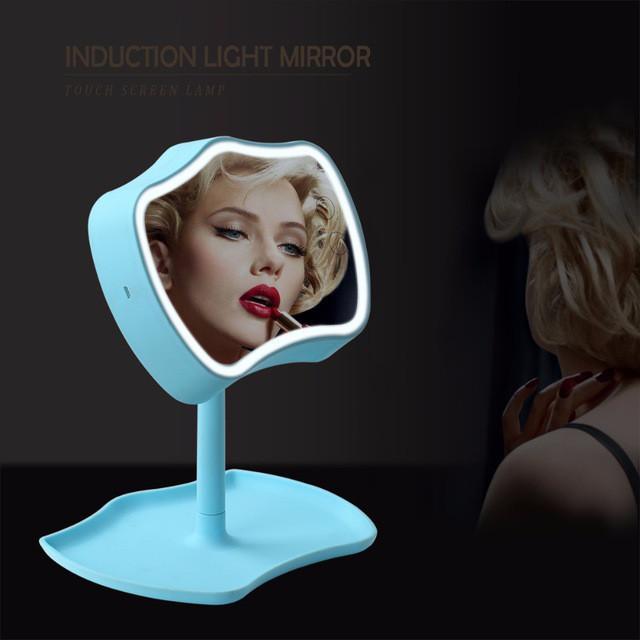 Косметическое зеркало с сенсорным экраном и подсветкой 2 в 1 Mirror Lamps Голубой