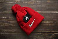 Мужская  шапка красная  Nike Найк  (реплика)