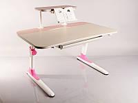 Детский стол Mealux Edison Pink с полкой розовая