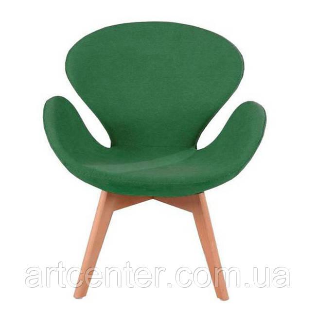Кресло для ресторана, кресло дизайнерское, кресло для посетителей (СВАН Вуд Армз ЗЕЛЕНЫЙ)