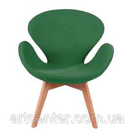 Крісло для ресторану, дизайнерське крісло, крісло для відвідувачів (СВАН Вуд Армз ЗЕЛЕНИЙ)