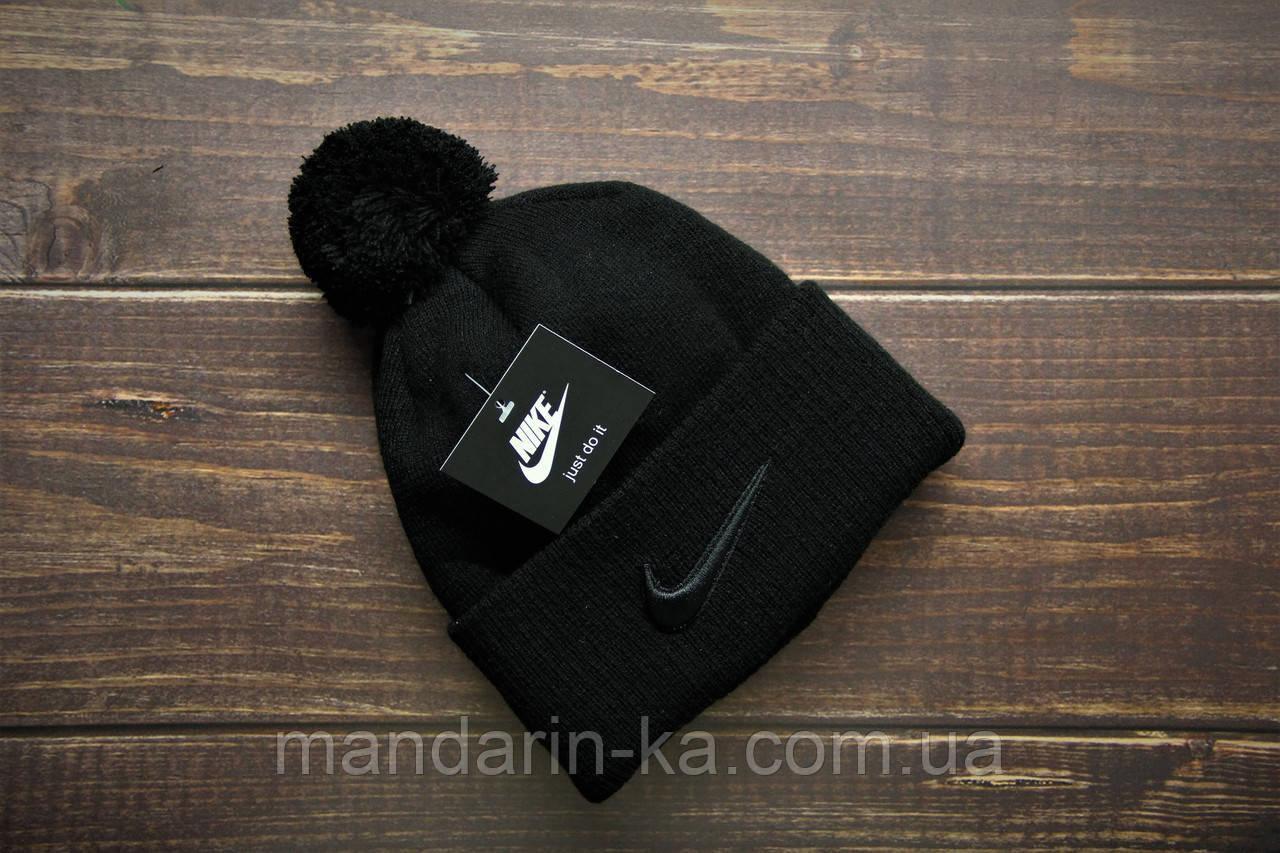 Шапка  мужская  черная  Nike Найк  (реплика)