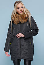 Куртка женская теплая зимняя с капюшоном и мехом натуральным синего цвета размеры: xs,s,m,l,xl, фото 2