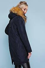 Куртка женская теплая зимняя с капюшоном и мехом натуральным синего цвета размеры: xs,s,m,l,xl, фото 3