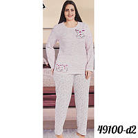 Розовая пижама женская батальная на байке оптом COTTON MORE Турция 49100-D-2 a490de1df371b