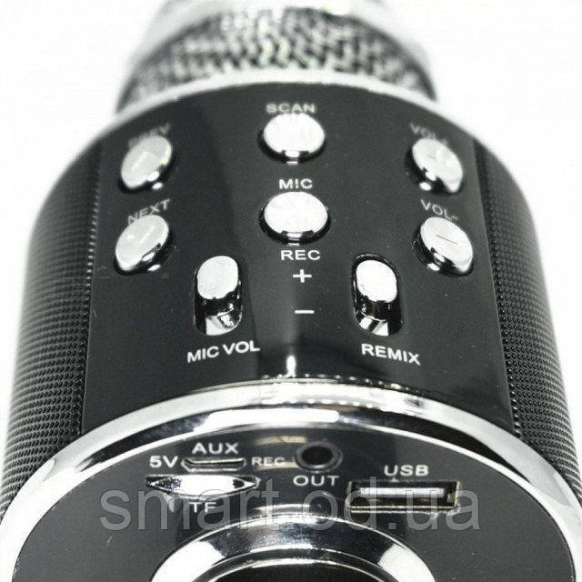Bluetooth микрофон-караоке WS-858 с динамиком (колонкой), слотом USB и FM тюнером Черный, беспроводной микрофон