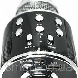 Bluetooth мікрофон-караоке WS-858 з динаміком (колонкою), слотом USB, FM тюнером Чорний, безпровідний мікрофон