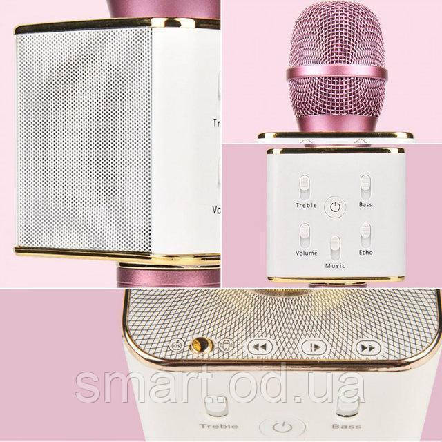 Караоке-микрофон q7  / Беспроводной Bluetooth караоке-микрофон Розовый, мини микрофон