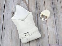 """Конверт-одеяло с шапочкой """"Путешественник"""", на трикотаже, молочный, фото 1"""