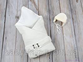 """Конверт-одеяло с шапочкой """"Путешественник"""", на трикотаже, молочный"""
