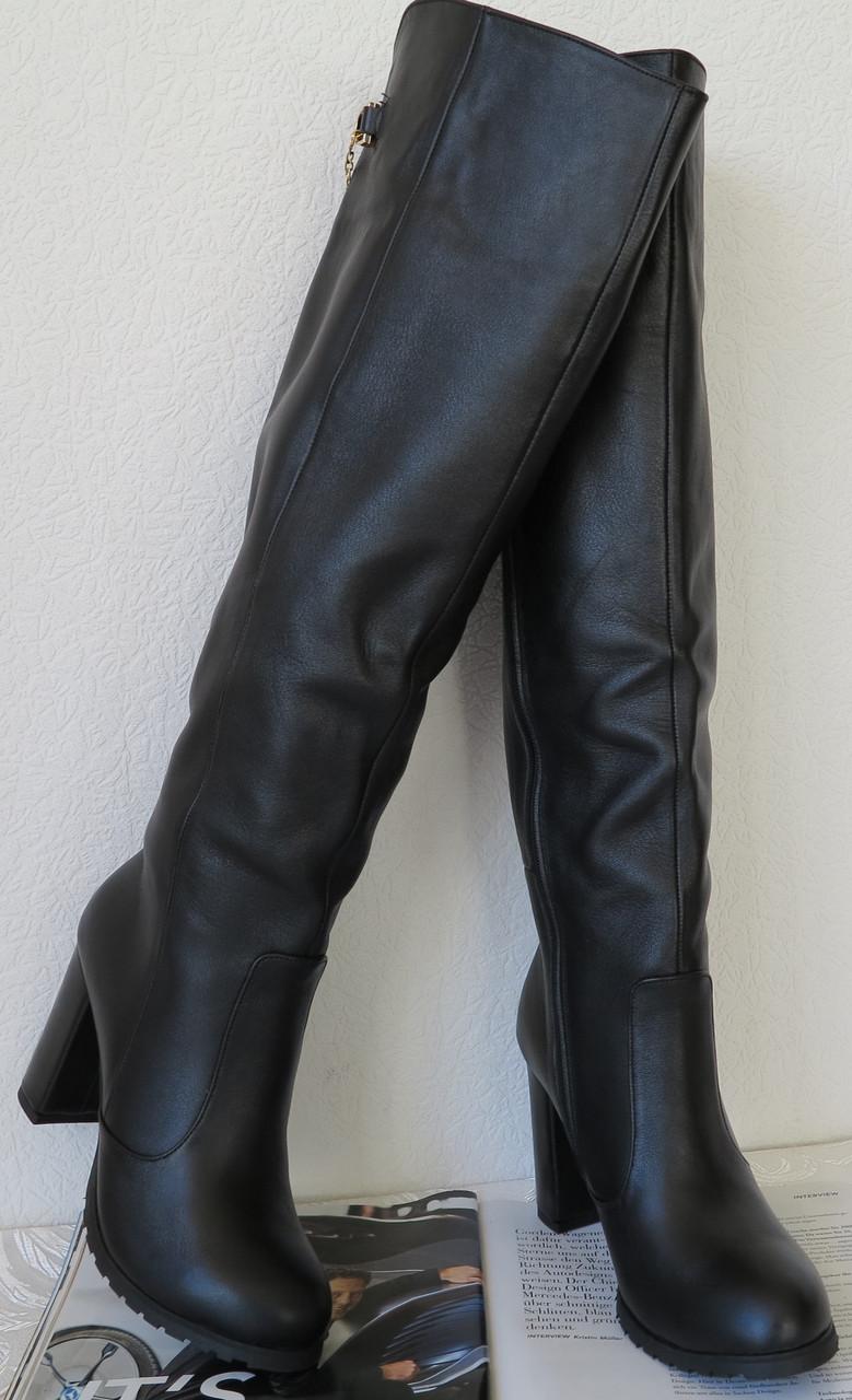 3c83f2598891dd Стильні зимові жіночі шкіряні чорні ботфорти на підборах 10 см чорні Senso!  єврозима - VZUTA