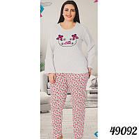 bbb60f2870a89 Пижама женская белая батальная на байке COTTON MORE Турция 49092