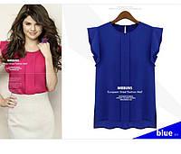 Блузка Женская с коротким рукавом. Синяя.