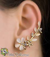Кафф на ухо божественный цветок без прокола две клипсы кристаллы Earcuff Клип каф серьги Клипс