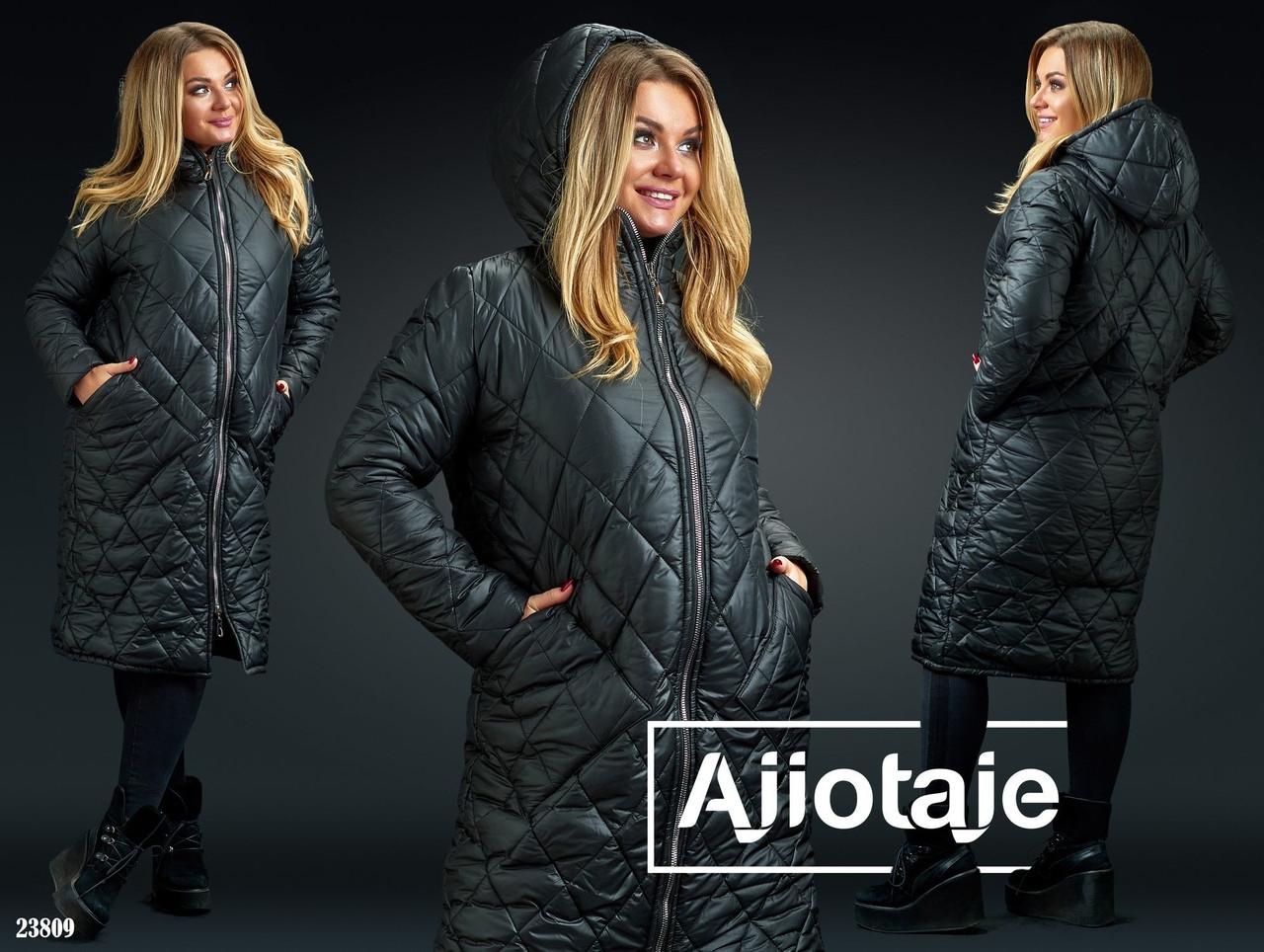 Женское стеганное пальто плащевка Синтепон 200 Размеры  50-52, 54-56, 58-60
