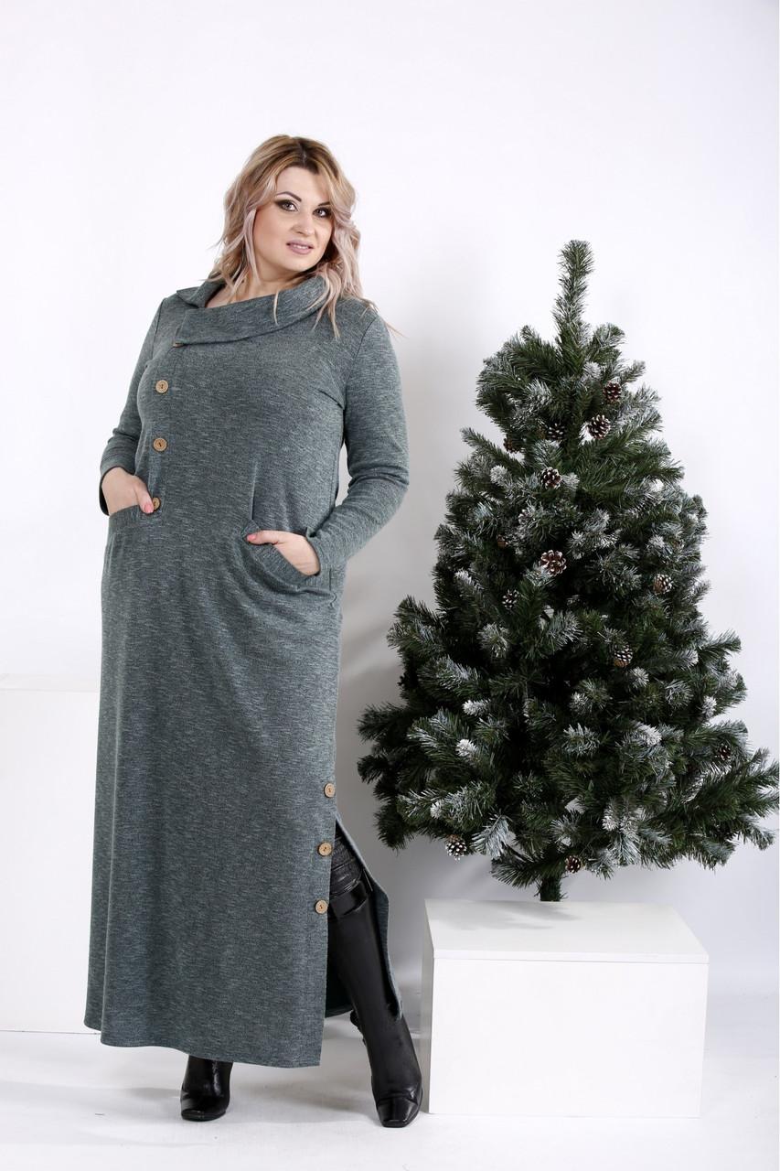 Женское длинное трикотажное платье в пол макси размеры: 42-74