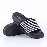 Женские летние резиновые пляжные шлепанцы черные