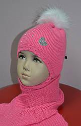 Комплект зимовий Сердечко: шапка з шарфом для дівчинки (AJS, Польща)