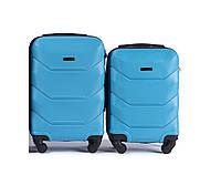 Набор чемоданов (ручная кладь) 2 в 1 Wings 147 на 4 колесах (голубой 4ea06cf7a9e