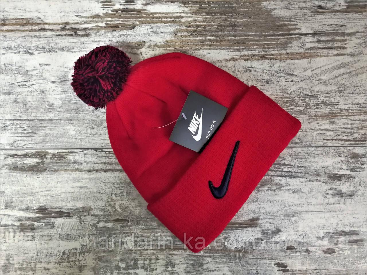 Шапка  мужская  красная  Nike Найк  (реплика)