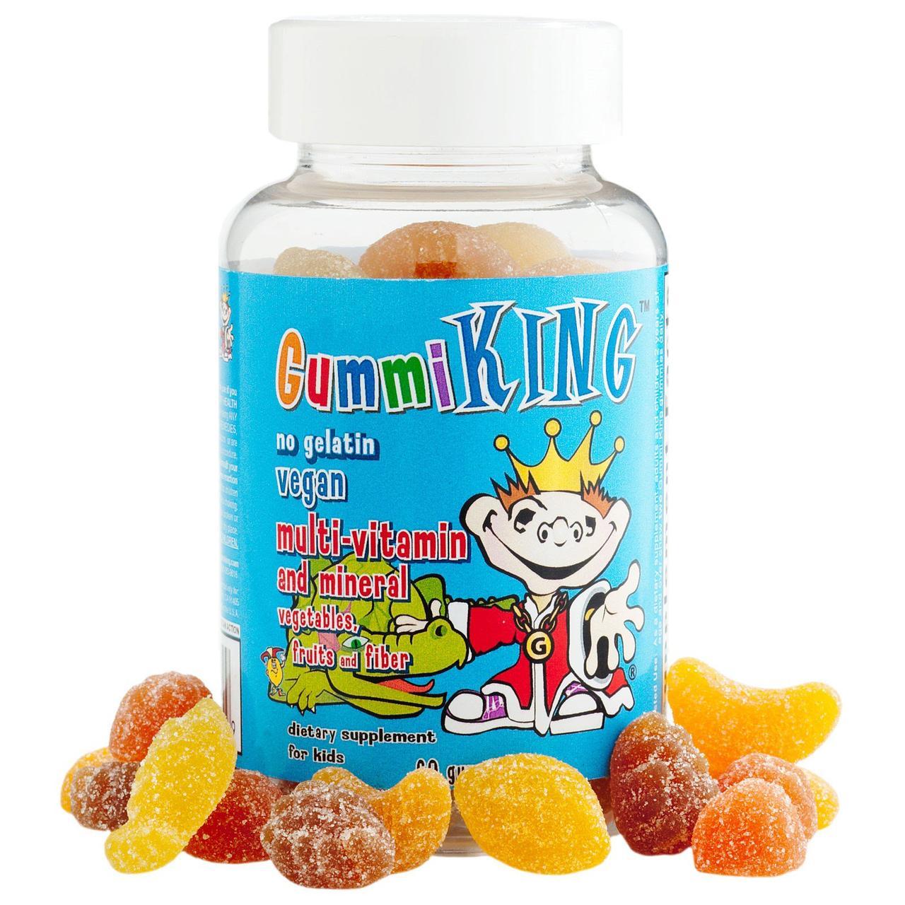 Вітаміни і мінерали з овочами, фруктами і волокнами, для дітей, 60 тягучок Gummi King
