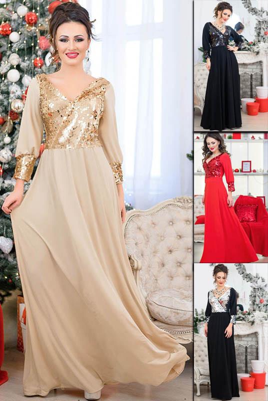 Вечернее платье в пол с пайетками Жасмин