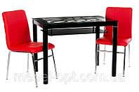 Стеклянный стол T-300-2  черная столешница с узором