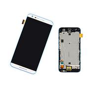 Дисплей (экран) для HTC Desire 620G Dual Sim + тачскрин, белый, с передней панелью серого цвета