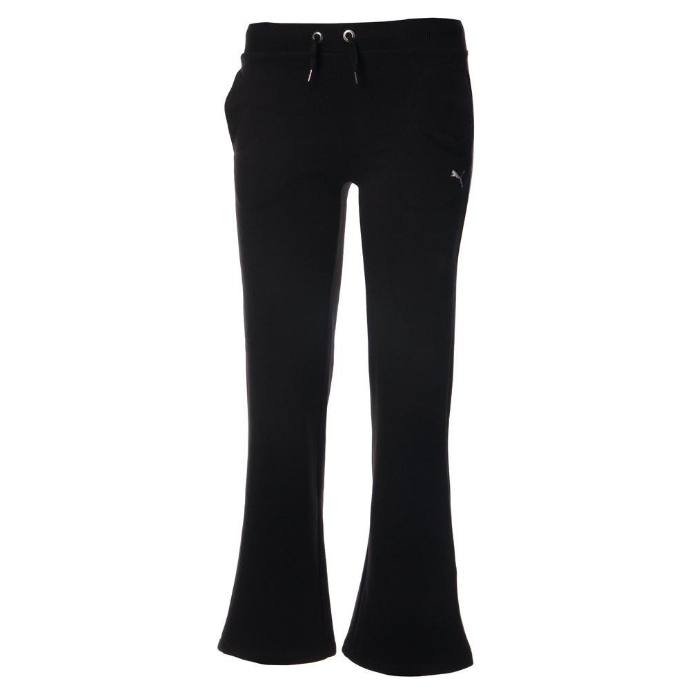 Брюки спортивные женские puma art.813795 01 (черные, хлопок, клеш, повседневные, теплые, с флисом, бренд пума)